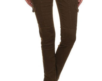 Enjean Women's Slim-Fit Cargo Pants w/ Flap Side Pockets (Mocha)
