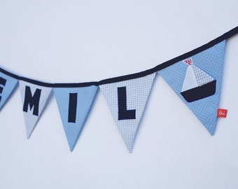 Name bunting with boat, personalised baby gift, blue, Childrens bunting, Personalised fabric bunting, Name bunting, Baby Xmas Gift
