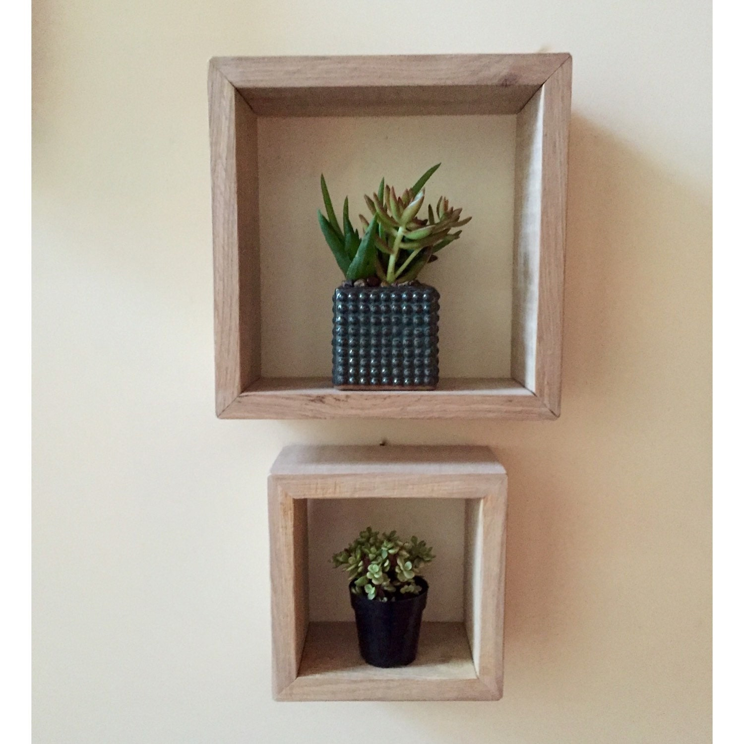 Wall Art Shadow Box : Square shadow box set wall art wooden shelf