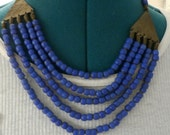 Bib Necklace Vintage Matte Cobalt Blue Glass Beads and Brass Tribal Multi Strand Collar Necklace