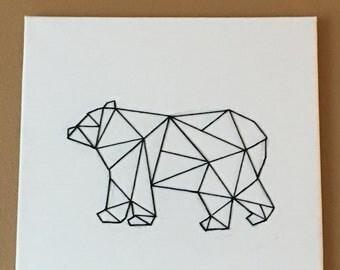 Geometric Bear Canvas