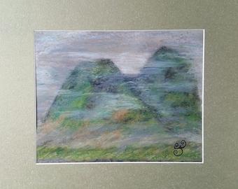 Foggy Mountains - oil pastel painting - framed art - original art