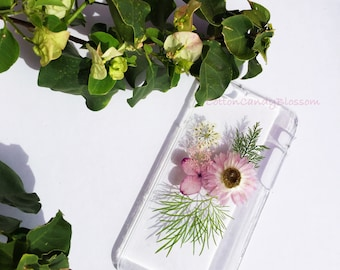 Pink Daisy and Hydrangea, Pressed flower iPhone 7/7 Plus, Real Flower iPhone 7 case, Handmade iPhone case, Clear iPhone case