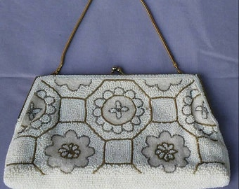 Vintage hand beaded cream and white floral evening bag