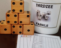 Yardzee Farkle Yard Yatzee FREE SHIP Cedar Dice Game In Bucket or Bag or Bucket Label Only with Score Sheets and Instructions
