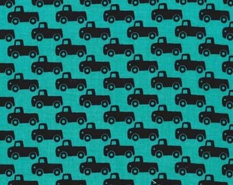 Michael Miller - Tiny Trucks - Teal - 100% Cotton Fabric by the Yard - You Choose Your Cut
