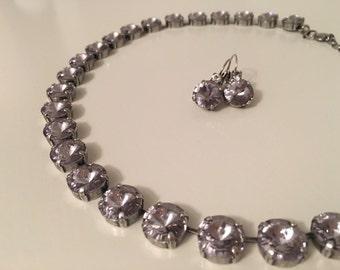 Smokey Mauve Swarovski Crystal Necklace and Earrings Set