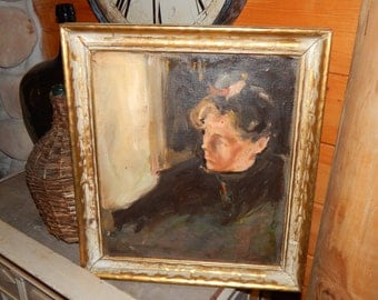 Beautiful Vintage Portrait Of Woman Oil Painting