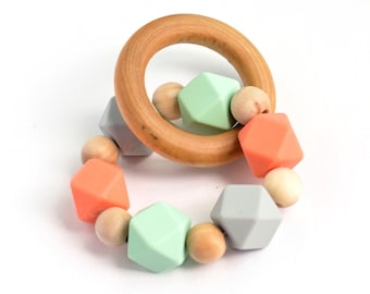 Organic Wooden and silicone Teething Ring, silicone chew bead teether, natural wooden bead teething toy, baby toy, wooden toy, baby gift