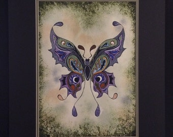 Purple butterfly, soft background, matted wall painting 12x16 watercolor