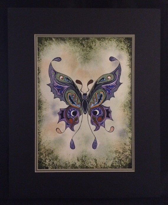 Purple Butterfly Soft Background Matted Wall Painting 12x16
