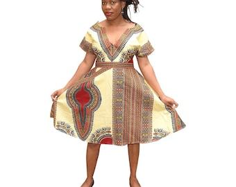 African Print Dashiki dress, Iramdesigns Custom made Midi Dress, African Print Dress, African dress, African Clothing