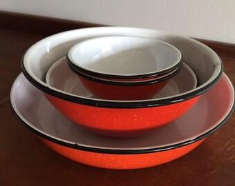 Vintage Mid-Century Orange & Black Enamelware/Granite Ware- Qty. 1 set of 6 pcs.