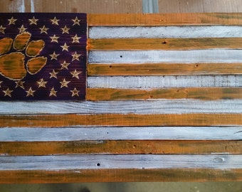Wooden Clemson Tigers American Flag