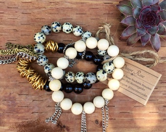 Natural Stone Beaded Stackable Bracelet Set