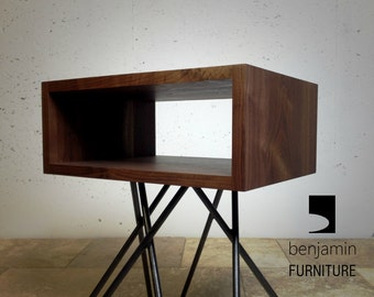 "the ""crossleg"" mid century end table, mid century modern end table, walnut end table, industrial end table and nightstand"