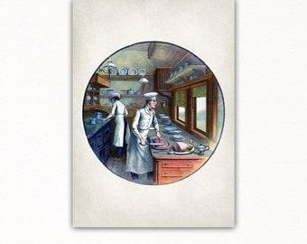 CHEFS VINTAGE PRINT, chefs vintage poster, chefs vintage decor, kitchen, restaurant, dining room, #3069