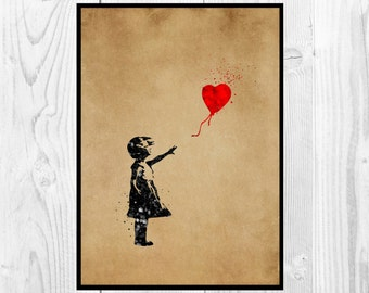 Banksy Balloon Girl, Banksy Girl with a Ballon, home decor,  print , Art Print,  Gift, Wall art, Poster ,Instant Download