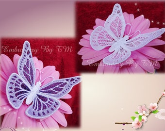 Lace violet butterfly 1 - Two color variants (white and white-violet) -FSL-4x4 hoop