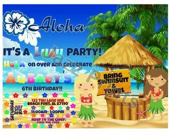 Luau Birthday Invitation.