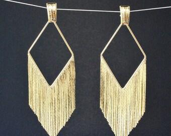 Golden Diamond Fringe Earrings