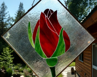 Stained Glass Sun catcher, Rose bud.  Handmade, fused glass