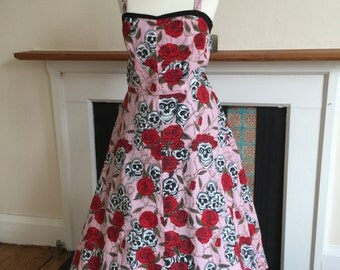 1950s style prom dress with skull print