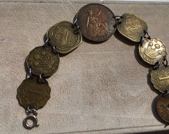Vintage Coin Bracelet - British and India coins, King George, British India Annas coin