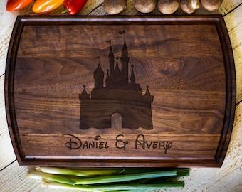 Custom Cutting Board, Disney Castle,  Personalized Cutting Board, Wedding Gift, Anniversary, Bridal Shower Gift Kitchen Decor #3131