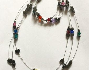 Hematite and Swarovski Crystal Necklace and Bracelet Set
