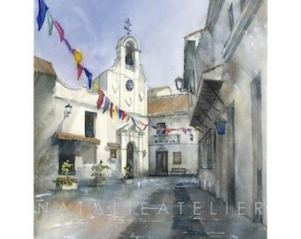 Mijas- watercolour print, architecture