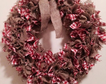 Gingham Rag Wreath