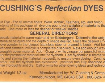"""W. Cushing & Co """"Perfection"""" Acid Dye, 1/3 ounce packages YOU PICK Your Colors!"""