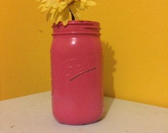 Pink mason jars with polka dots