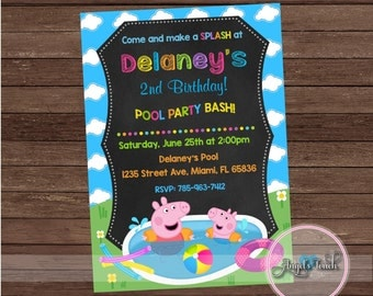 Peppa Pig and George Pool Party Invitation, Peppa Pig Birthday Invitation, Peppa Pig and George Birthday Party Invitation, Digital File.