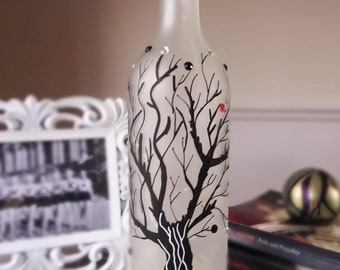 Decorated wine bottle with lights - SOLD