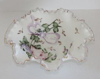Fenton Charleton Silver Crest Lavender Roses & Bows Ruffled Bowl