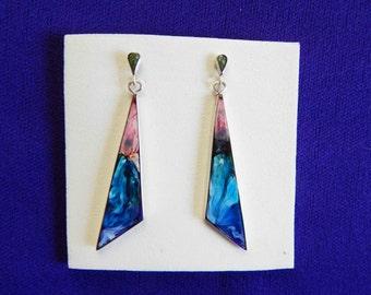 Silver 950 earrings/Free Shipping USA/sterling silver handmade earrings/ColourResine drops/geometricDrops earrings