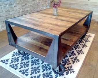 Coffee table industrial TV stand