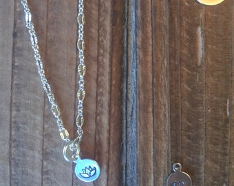 Hand stamped lotus necklace