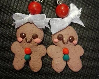 Polymer clay earrings Kawaii Gingerbread man.