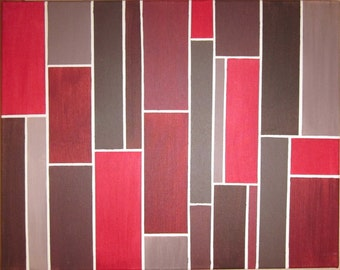 red, brown and gray brick modern painting 16 x 20