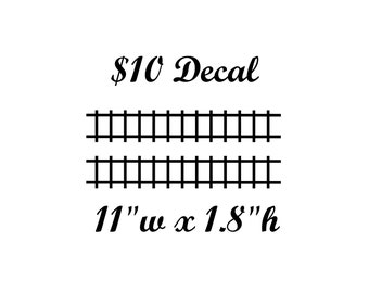 "Train Tracks Decals - 2 per set - 11"" wide x 1.8"" tall - Track Wall Decal"