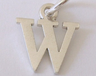 Genuine SOLID 925 STERLING SILVER 3D Initial W Letter Pendant
