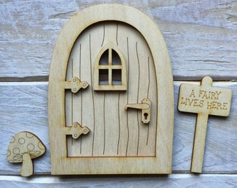 Wooden Fairy Door Blank Birch Pywood Pixie Hobbit Elf door Kit ready to decorate KIT C