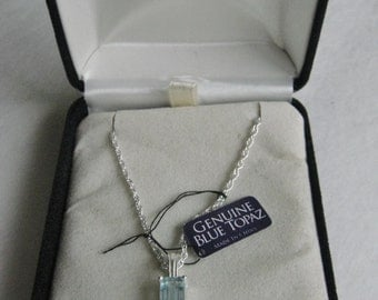 Vintage Sterling Silver and Blue Topaz Necklace