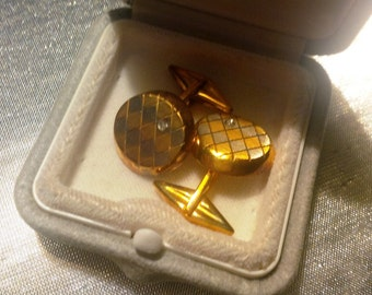 """Twins cufflink """"De Regilus"""" 18kt yellow and white gold and diamonds, gr 13, NEW"""