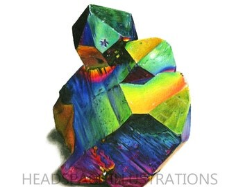 Rainbow Aura Quartz Crystal Mineral Archival Art - Colored Pencil Print by Headspace Illustrations