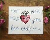 8x10in SACRED Free shipping HEART watercolor print catholic christian handmade hand painted calligraphy