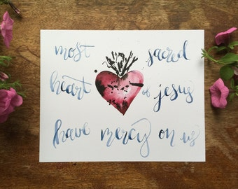 8x10in SACRED and/or IMMACULATE HEART watercolor print catholic christian handmade hand painted calligraphy